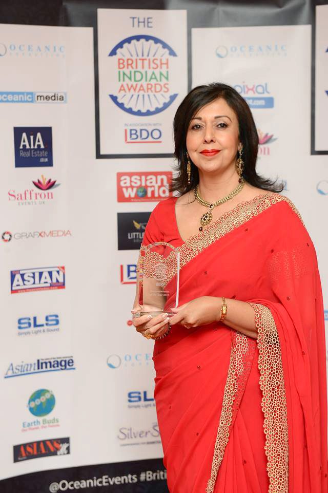 Harvinder accepting 'Business Woman of the Year' at the British Indian Awards 2016